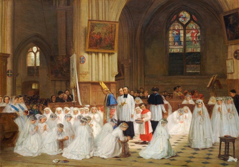 figures in a cathedral interior being confirmed by théophile emmanuel duverger