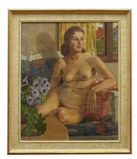 nakenstudie vid fönstret by philippe de rougemont