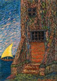 leuchtturm und segelschiff by benvenuto benvenuti