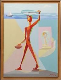 pêcheur et nu rose by léopold survage
