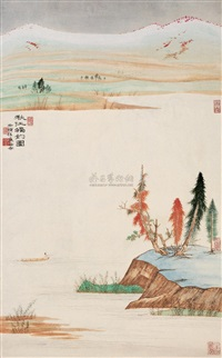 秋江独钓图 (angling on the autumn river) by xu kang and xu jian