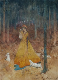lady with rabbits ina woodland glade by harry rountree
