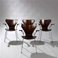 syveren chairs (model 3207) (set of 4) by arne jacobsen