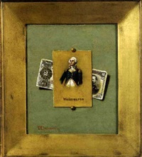 trompe l'oeil of a two dollar bill and a commemorative of washington by victor dubreuil