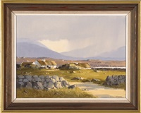 cottages- ballynakill harbour, connemara by denis j. mcdowell