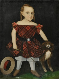 portrait of a boy in a red plaid dress with his dog and a riding crop by ammi phillips