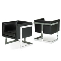 Beau T Back Lounge Chairs (pair), 1970u20131979. Milo Baughman