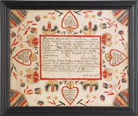 fraktur birth certificate for saloman walter, b. 1799 by martin brechall