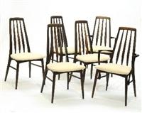 suite de quatre chaises et deux fauteuils (model eva) (set of 6) by niels koefoed