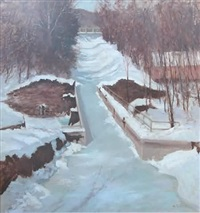 winter landscape with canal by anthony michael autorino