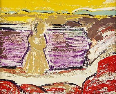 flicka vid strand by gunnar loberg