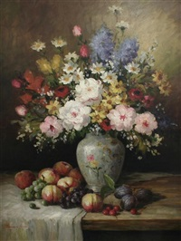still life of flowers in a vase and fruit on a table by james lisa