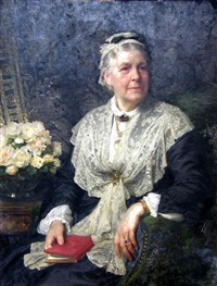 portrait of a lady in a lace edged dress by frank dicksee