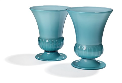 Two Vases Of Light Blue Glass With White Opal Glass Underlay By