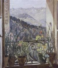 potteplanter i vindueskarm og udsigt mod bjergene i st. gervais by bertha dorph