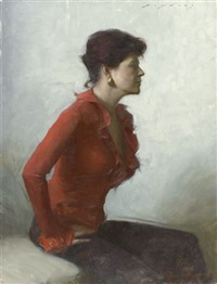 portrait of a woman in a red blouse by jeremy lipking