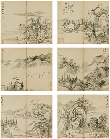 landscapes after old masters album w8 works by zhang zongcang