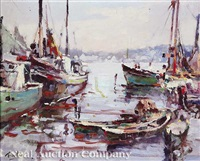 boats in the harbor by arnold e. turtle