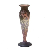 vase overlaid with rose, purple and green by émile gallé