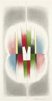 farbige konstruktivistische komposition mit grauer umrahmung by paul mansouroff