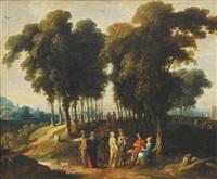 paysage avec élégants (collab. w/cornelis de wael) by jan wildens