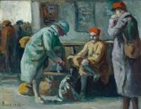 drei soldaten warten am bahnhof by maximilien luce