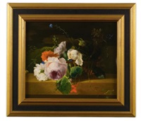 roses, carnations, and assorted wildflowers in a basket on a marble ledge by arthur chaplin