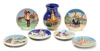paisaje y escenas populares en platos (6 works) by daniel zuloaga