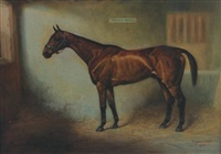portrait of horse in a stable towel rail by arthur lewis townshend
