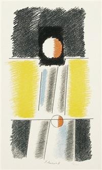 konstruktivistische komposition mit blau, orange und gelb by paul mansouroff
