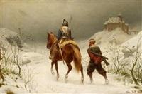 historisierende szene mit einem ritter und seinem gefangenen by christian sell the elder