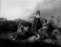 junge bauernmädchen rasten vor einem getreidefeld by ludwig elsholtz