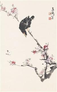 mynah on plum blossom tree by wang xuetao