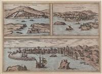 adriatische ortschaften: parenzo (pareus), methone (modena), sibenik (sebenico), mit segelschiffen by braun & hogenberg