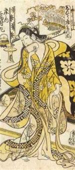 left hand sheet from toko no uchi sambukutsui (hosoban urushi-e) by okumura toshinobu