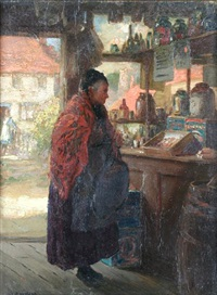 a lady in a village shop by allan douglas davidson