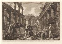 différentes vues de quelques restes de trois grandes édifices... (frontispiece) by giovanni battista and francesco piranesi
