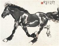 奔马图 镜心 纸本 by liu boshu
