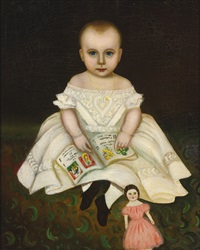 portrait of a young girl with open primer and doll by joseph whiting stock