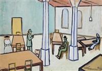 wartende in einer halle mit tischen und stühlen by willibald kramm