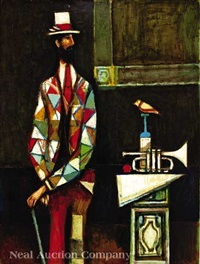 harlequin with trumpet by david pryor adickes