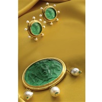 a brooch and pair of earclips (set of 2) by elizabeth locke