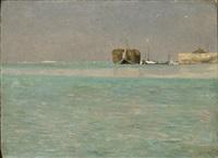 barca nella laguna by giuseppe ciardi