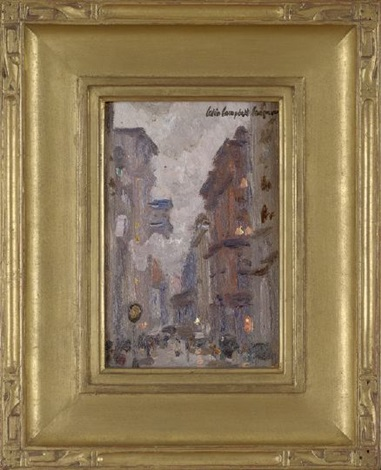 evening city street scene by colin campbell cooper