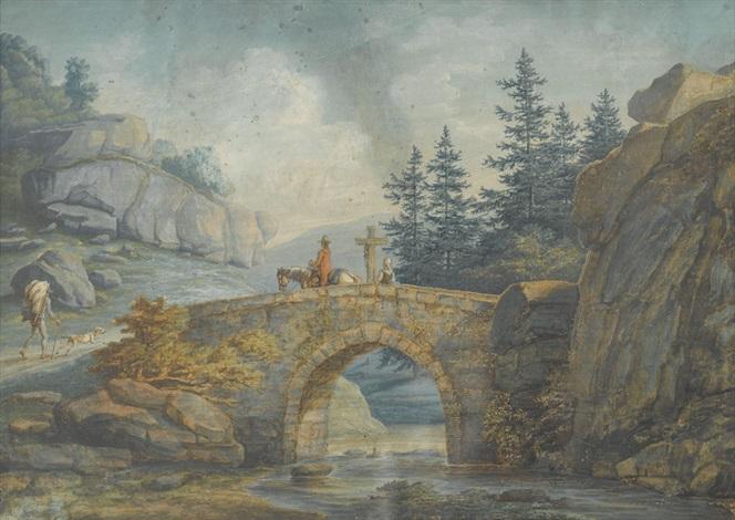 felslandschaft mit steinerner bogenbrücke und staffage by david alphonse de sandoz rollin