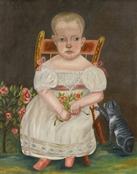 baby seated in a chair with her cat by american school (19)
