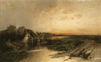 a fisherman in a boat in an evening landscape by nicolai von astudin