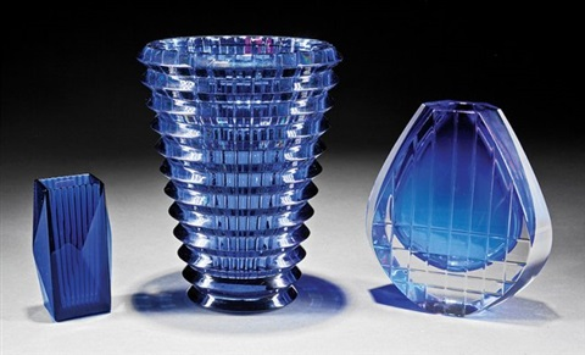 Three Baccarat Blue Cut Glass Vases By Baccarat On Artnet