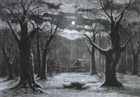 fruit snow under a full moon by ludwig fischbeck