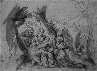 die hl anna selbdritt mit dem johannesknaben und einem engel in der landschaft by johann anwander